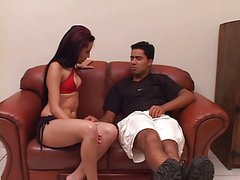 Hot brunette in sexy red top blows and rides cock on leather couch