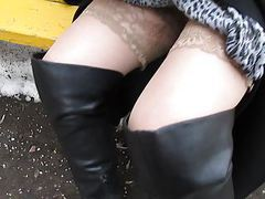 Girl in black leather boots and stockings outdoor 1