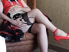 Sissy Ray in Red Sissy dress in hotel 1
