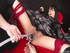 Hikaru Momose tied spread wide open in a chair her naked pussy punished