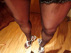 lovely cd cums on his own legs heels and nylons