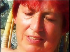 chubby mature redhead fucked outdoors