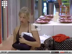 Big Brother NL Blonde teen strips after sport nude shower