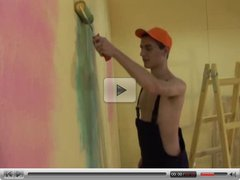 Painter with Thick Cock Barebacks Boy, Cums all over his Ass