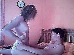 Young teen couple having a naughty time