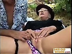 Granny Kathy gets fucked in the woods like a whore