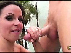 Horny milf gobbling down cock