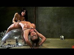 Strapped to hemisphere babe oiled and toyed