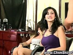 Amateur girls play with CFNM hairdressers cock