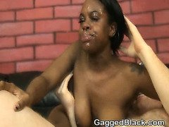 Dirty Black Slut Chokes On And Fucked By White Cock