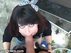 Back Alley Blowjob With Blue Eyed Brunette Lovely