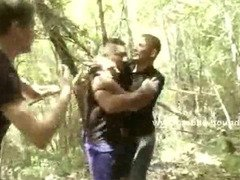 Horny turist gets abused by other gay men that were taking a hike and has his face covered in cum