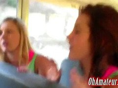 young supple girls playing on the bus