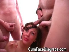 Cystal Cummings takes facials and gets her face covered in cum