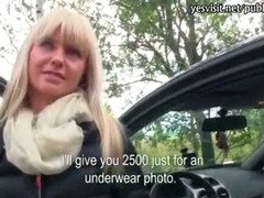 Big tits blonde eurobabe stuffed in the car and gets payed