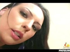 brunette gives blowjob before getting cock inside of her