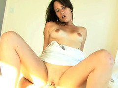 Curvy brunette sweetheart sucks and rides on top of a healthy cock