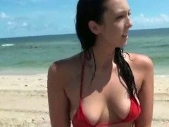 Brunette Ex Girlfriend Flashing Her Pussy On Beach