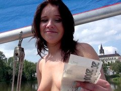 Perky tits real amateur chick sucks and fucks on a boat in exchange for money