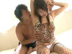 Ruri Kouda in cheetah lingerie gets on her knees to suck dick