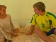 Mom Waits her Son in her Bed for an After Soccer Party