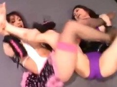 2 Asian Girls Fighting Sucking Nipples On The Wrestling Mat