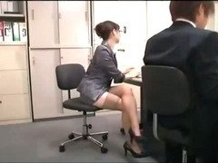 Office Lady With Glasses Getting Her Hairy Pussy Licked By Her Colleauge While Standing In The Offic