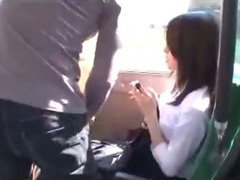 Office Lady Getting Her Tits Rubbed Pussy Licked And Fingered On The Bus