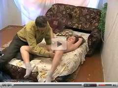 Russian couple fucking hard on bed