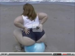 SSBBW bounces on ball and bangs a black guy