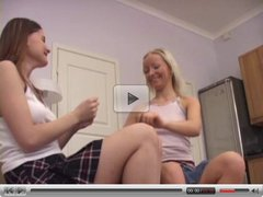 Teen lesbians play with each other