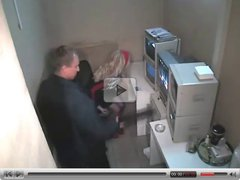Security Guy fucks on security cam