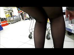 Black stockings upskirts without panties