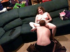 Chubby milf gets licked and fucked on spycam at