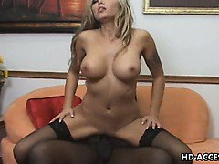 Big tits honey takes on big black cock