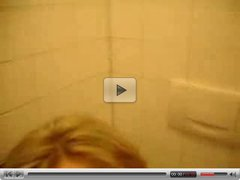 Blonde in A Public Bathroom Gets Cumshot On Her Tits