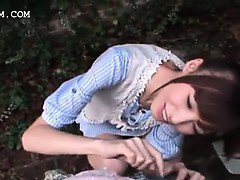 Sweet teen asian girl taking dick in mouth outdoor in POV