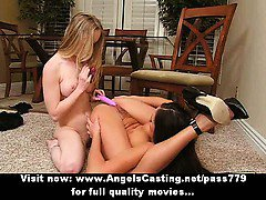 Amateur amazing blonde and brunette lesby girls touching and pussy licked on the floor