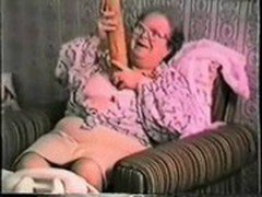 Very old granny loves big toy Real amateur