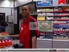 Gas station cashier giving blowjob