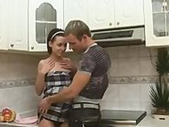 Cute Russian Teen Brunette Alina fucks in the kitchen