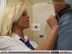 Bev gives a handjob in her white shirt, part 1