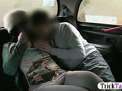 Sexy British girl sucks and fucks a lucky taxi driver on the backseat of the taxi and then he cums from a handjob