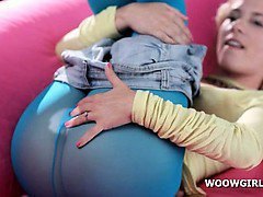 Teen blonde cutie shoves hand in pantyhose and rubs cunt