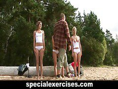 Naked training for 3 amateur babes