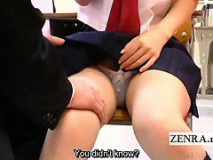 Subtitled shy Japanese schoolgirl in masturbation cafe