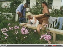 Blonde Anal DP Threesome Outdoor