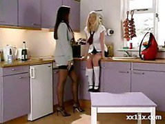 Teen blonde with perfect lesbian babe