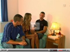 Cute blonde with bisexual guys