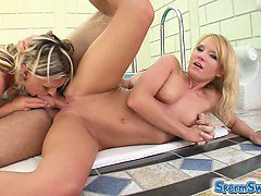 Two slutty blondes get banged. They begged for cum and since one load was not enough for two chicks they just had to swap it from one to another